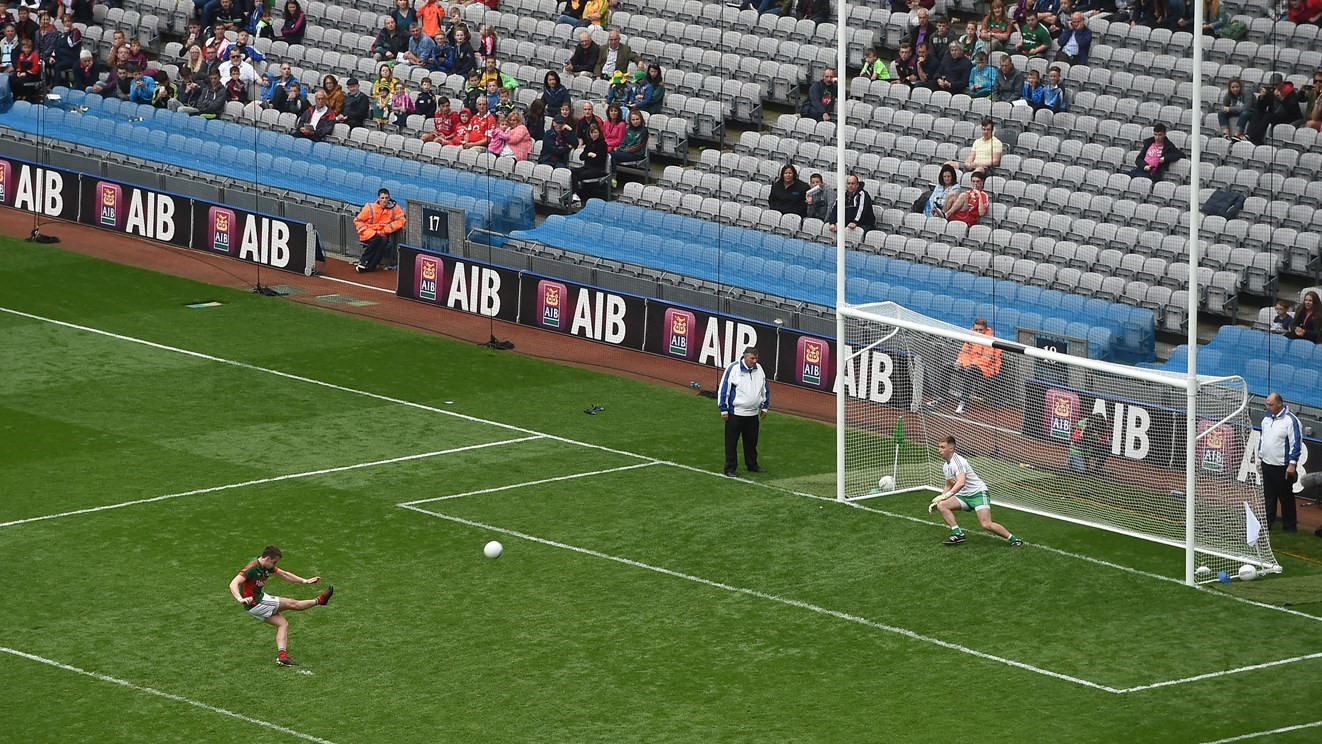 Mayo's Cillian O'Connor taking a penalty shot. Photo credit: gaa.ie